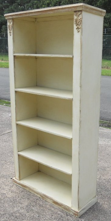 Painted Standing Tall Open Bookcase Cabinet